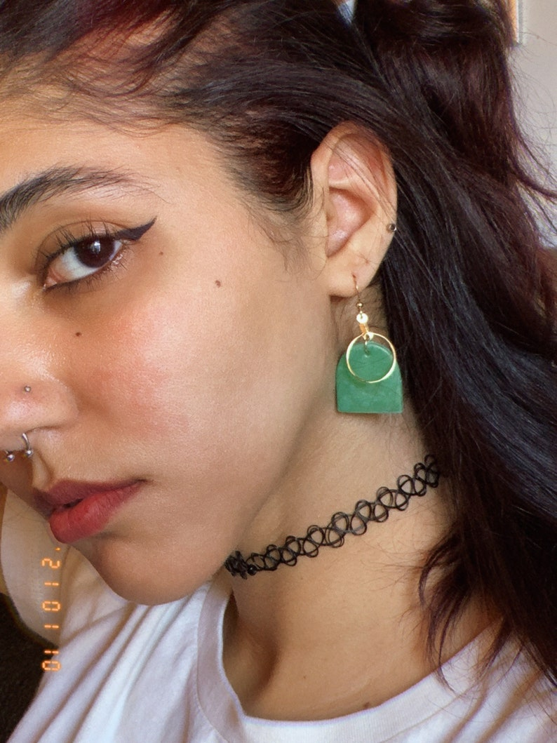 Minimalist Earrings Green Clay Earrings Elegant Clay Earrings Golden Clay Earrings