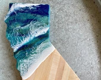 California Charcuterie Board   Ocean Wave   Serving Board   Maple Wood   Surf   Tropical Decor