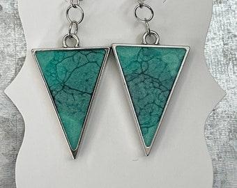 Various Resin Art Earrings   Triangle   Diamond   Resin Earrings   Silver Bezel
