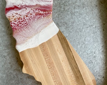 California Charcuterie Board   Rose Gold   Serving Board   Maple Wood   Surf   Tropical Decor
