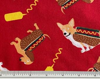 CreamNavy Hotdog PolyCotton Fabric
