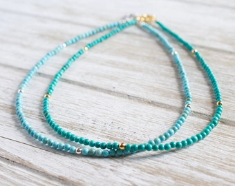 Turquoise Choker Necklace, Genuine Turquoise Beaded Necklace, Dainty Layering Necklace