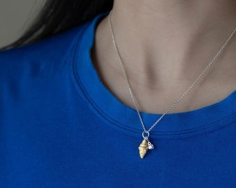 S925 Silver Necklace With Croissant & Coffee Cup Pendant