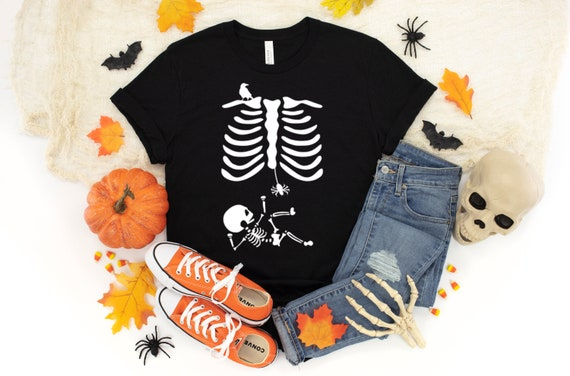 Halloween Pregnant Skeleton Shirt Halloween Pregnancy Shirt