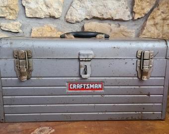 1950/'s CRAFTSMAN Metal TOOLBOX ~ Country Farmhouse Decor ~ Vintage Garage Decor ~
