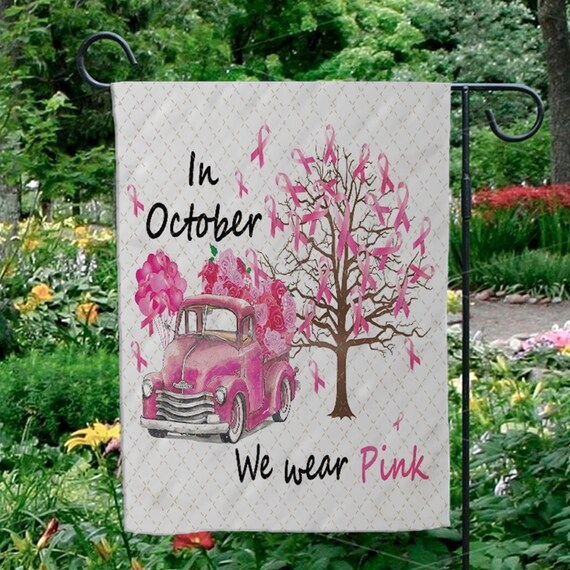 In October We Wear Pink Flaghappy Haunting Sugar Skull Etsy