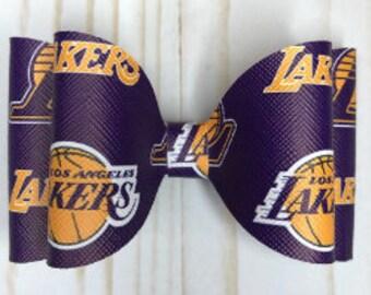 Los Angeles Lakers hair bow alligator clip or skinny nylon headband hair accessories