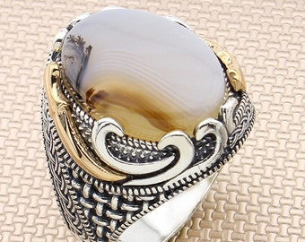 Details about  / 925 Sterling Silver Handmade Gemstone Turkish Agate Men/'s Ring Size 7-13