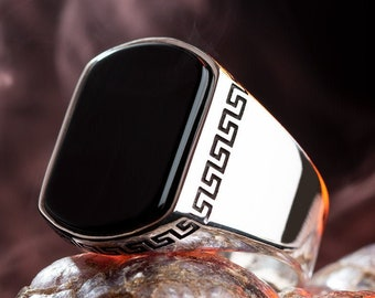 Cool Handmade Mens Silver Ring with Rectangle Black Onyx Gemstone and Greek Motif