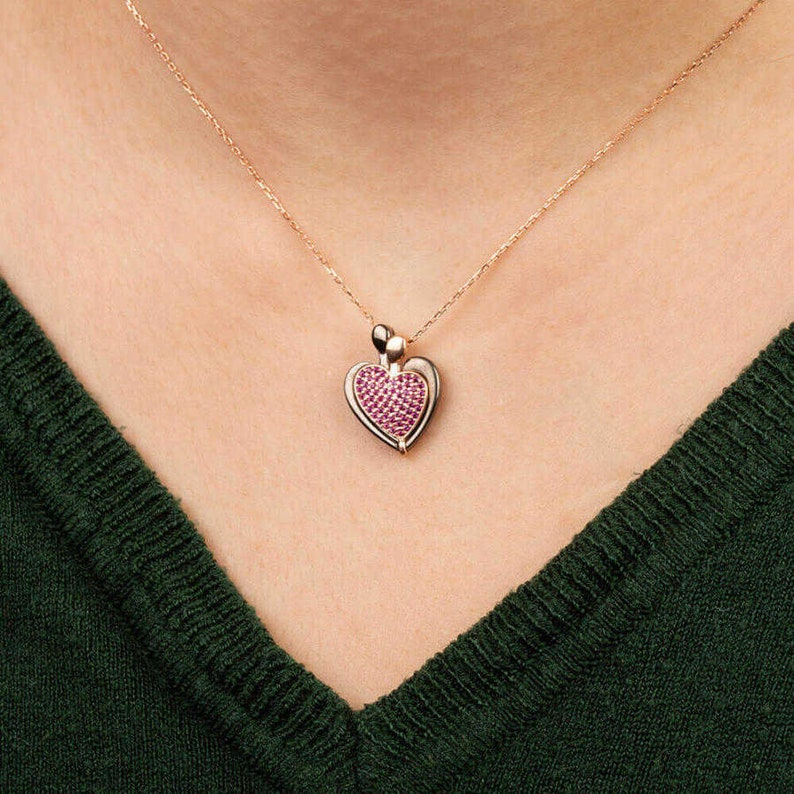 Friends Wife Valentine Anniversary Mother Days Gifts 925 Sterling Silver Women Customisable Heart Necklace with Purple Stones