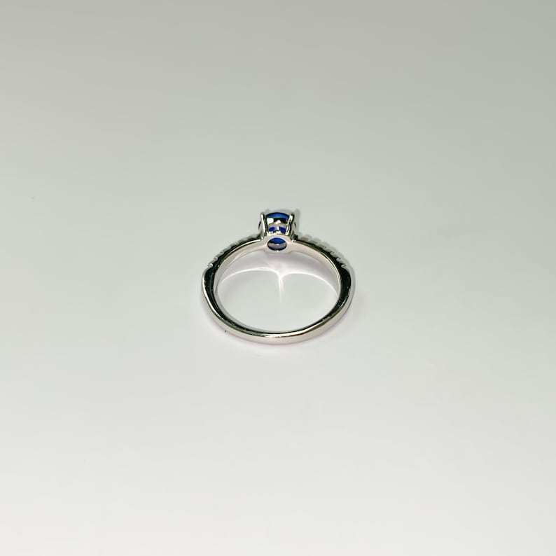 Sapphire cubic zirconia 925 sterling silver ring engagement ring wedding ring rhodium plated women\u2019s ring tarnish resistant