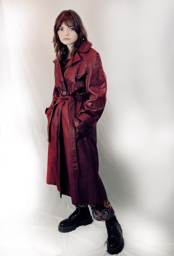 Vintage Leather Leather Trench Coat