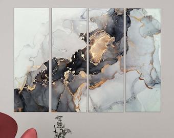 Grand Abstrait marron rectangles Muliti Panel 4 Toile Wall Art Split 100 cm large