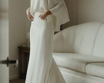 Simple Soft Satin Wedding Dress Off Shoulder Wedding Gown Minimalist Bridal Dress Satin Garden Bridal Gown with Train Garland Bridal Dress