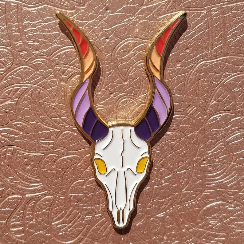 Lesbian Flag Soft Enamel Pin with Gold Plating Sapphic Skull