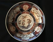 Gorgeous Antique Japanese Imari Porcelain Collectable Footed Bowl Hand Painted Gold Gild Multi Color Floral Pattern
