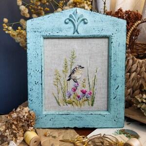 Linen embroidered bird motif sareeGiftChristmas Mother\u2019s Day UK stock