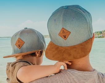 SOULBUDDY Caps Set of 2 light blue | Father son partner look | Father Son Cap | Father Son Caps Set | Pregnancy announces | Family Cap