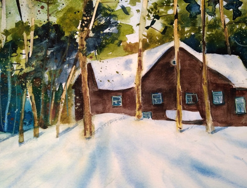 Green trees Landscape Original painting in watercolor Winter enchanted forest house in the forest pines Christmas gift for her.
