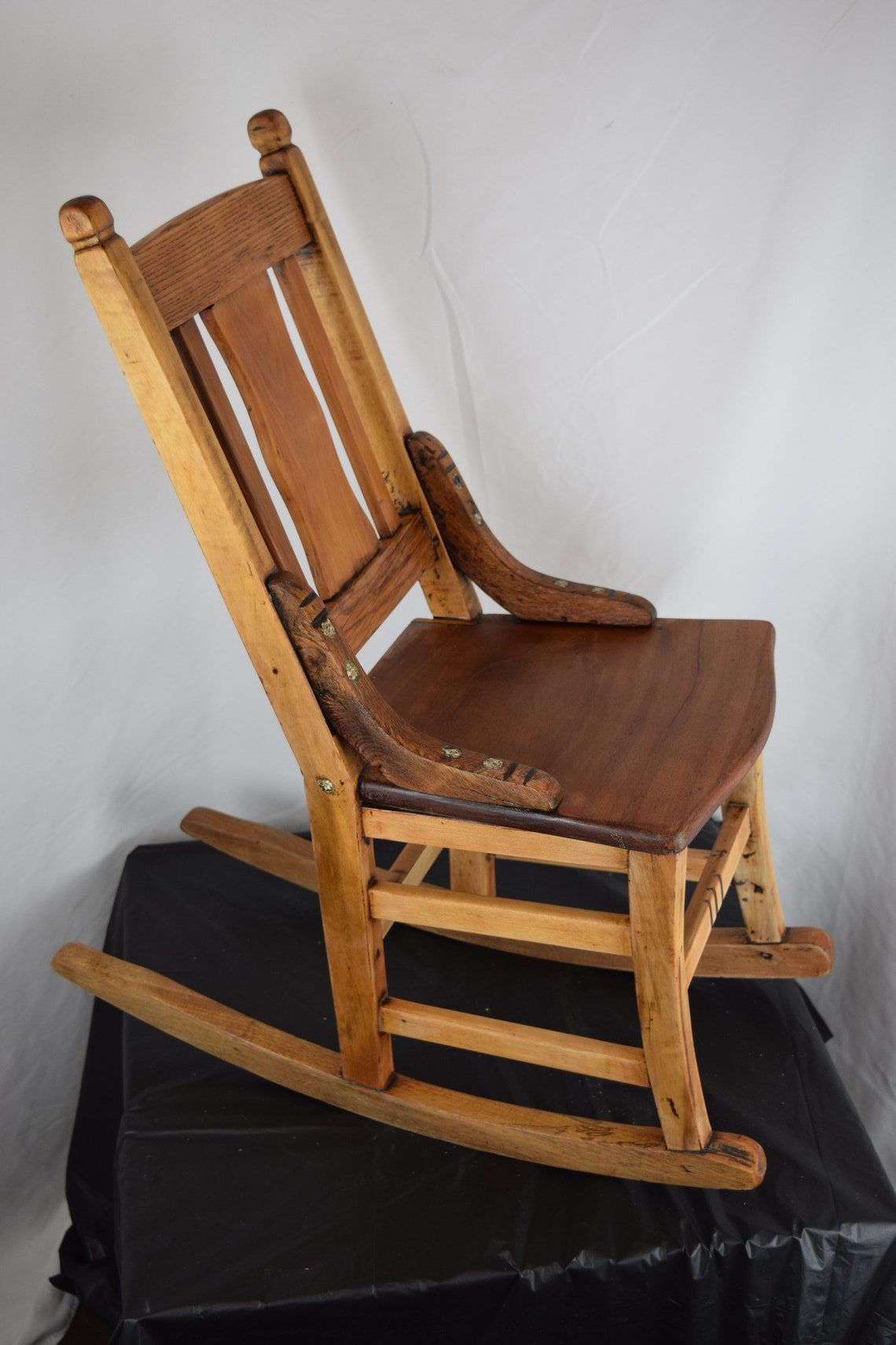 Antique Child's Rocking Chair - Reclaimed Hardwood with a Windsor Back
