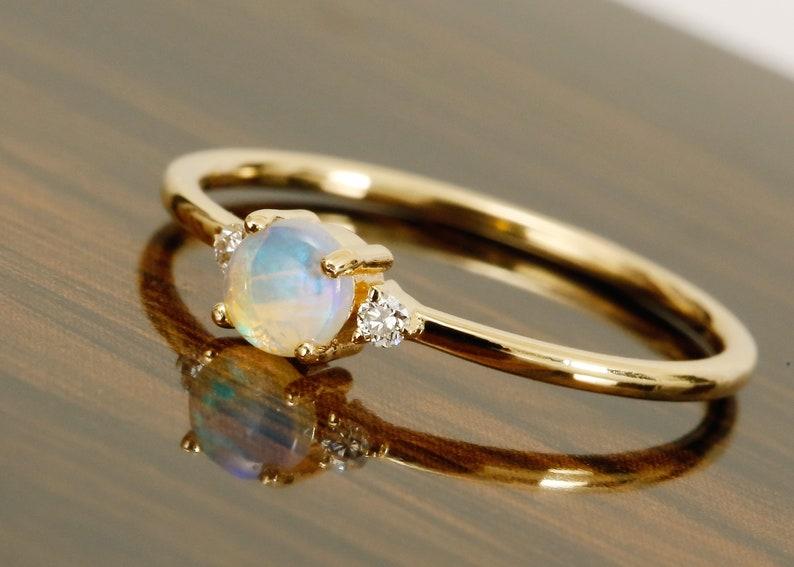 14k Solid Gold  RingOpal RingDesigner Ring Birthstone RingStatement RingJune Birthstone RingColor stone RingPartywear RingRing