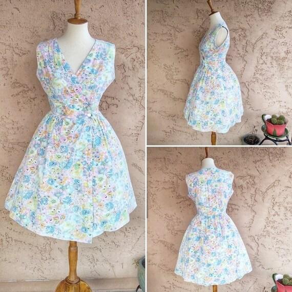 Vintage - 60's Cottagecore Floral Fit&Flare Dress