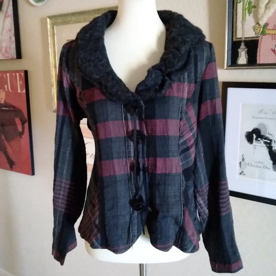 Vintage - 1980's Sweater Collar Plaid Jacket