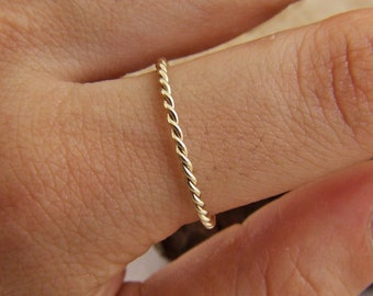 Simple Delicate Ring Dainty Stacking Ring Gold Ring 10K Solid Gold Twist Wedding Band 1.25MM 1.6MM White Gold Ring Thin Solid Gold Ring