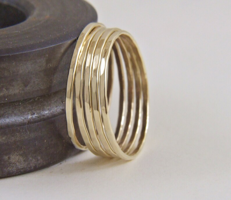Genuine Gold  Hammered Ring,1mm Solid Yellow Gold Hammered Band Solid 14K Yellow Gold Hammered Ultra Thin Band