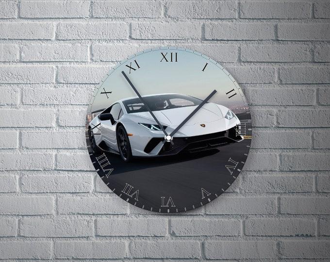 11.8'' Wall Clock LAMBORGHINI Vinyl Clock Decal, Cars Plastic Plate Round Wall Clock, Car  Wall Decor Custom Clock