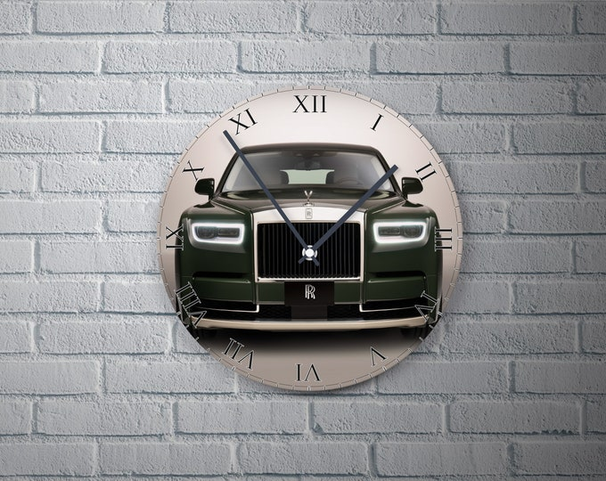 11.8'' Wall Clock ROLLS ROYCE Phantom  Vinyl Clock Decal, Cars Plastic Plate Round Wall Clock, Car  Wall Decor Custom Clock