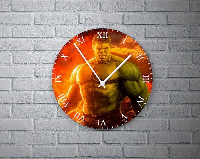 11.8'' Wall Clock HULK Design Vinyl Clock Decal, Unique Hulk Design Wall Clock, Round Vinyl Home Decor Wall Clock, Custom Hulk Wall Clock
