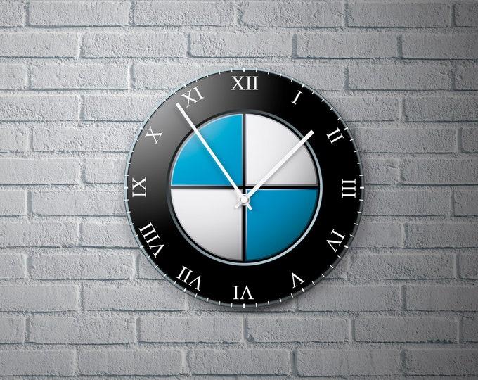 11.8'' Wall Clock BMW Design Vinyl Clock Decal, BMW Logo Design Wall Clock, Round Vinyl Home Decor Wall Clock, Custom Made BMW Wall Clock