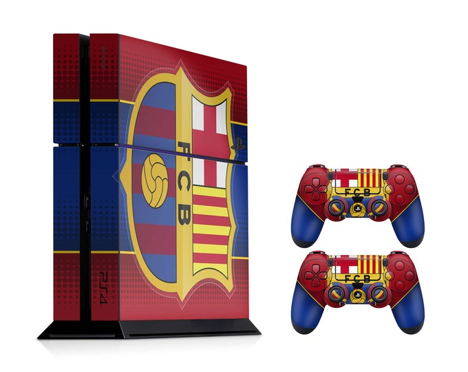 Skins PS4 FC Barcelona theme vinyl decal wrap for full body cover stickers for Sony Playstation 4 (PS4 Console and DualShock Skin)