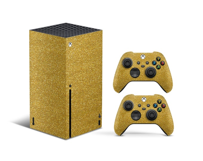 XBOX SERIES X Skin - Cute Game Skins - Stickers For Gamers Gift - Handmade Vinyl Skin Stickers - Gold Xbox Body Cover - Protective Cover