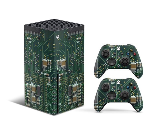Skins Xbox Series X  Electrical Circuit theme Full Body Cover and Controller