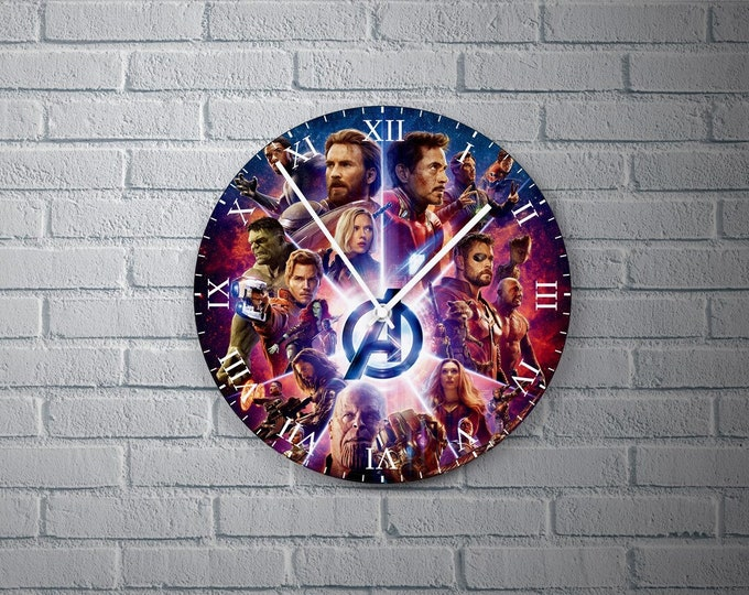 11.8'' Wall Clock AVENGERS Design Vinyl Clock Decal, Unique Avengers Design Wall Clock, Vinyl Home Decor Wall Clock, Custom Avengers Clock