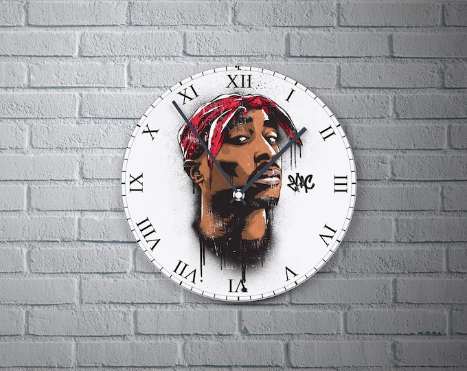 11.8'' Wall Clock 2PAC Design Vinyl Clock Decal, 2PAC Vinyl Record Wall Clock, 2PAC Art Design Home Decor Wall Clock Gift for Any Occasion