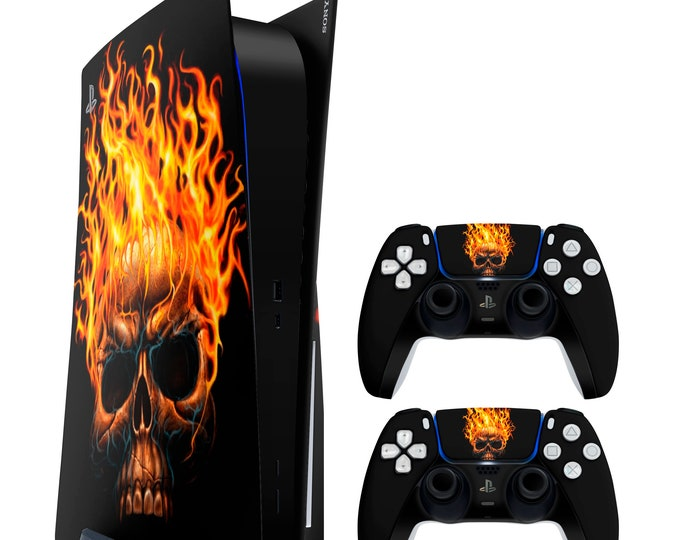 PS5 Skin FLAMESKULL   Vinyl Decal   Sony Playstation 5 & DualSense Protection PS5