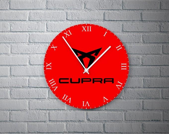 11.8'' Wall Clock Cupra Design Vinyl Clock Decal, Cupra Logo Design Wall Clock, Cupra Design Round Vinyl Wall Decor Clock, CUPRA Wall Clock