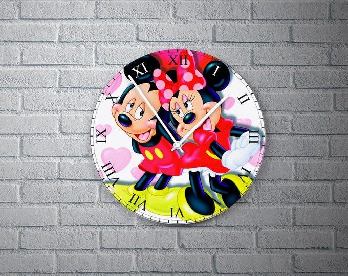 11.8'' Wall Clock Miniemouse Design Vinyl Clock Decal, 3D Minnie Mouse Vinyl Record Wall Clock, Minnie Mouse Theme Design Decor Clock Gift