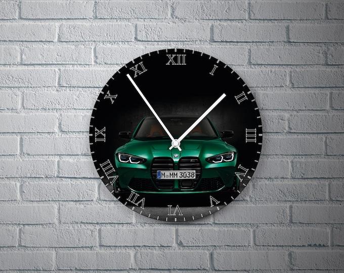 11.8'' Wall Clock BMW M3 Vinyl Clock Decal, Cars Plastic Plate Round Wall Clock, Car  Wall Decor Custom Clock