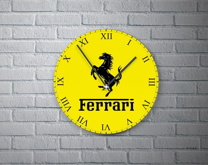11.8'' Wall Clock Ferrari Design Vinyl , Ferrari Logo Design Wall Clock, Ferrari Design Round Vinyl Wall Decor Clock, Ferrari Wall Clock