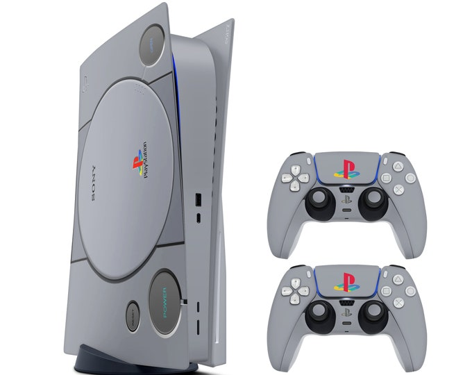 PS1 Style PS5 Standard Disc Edition Skin Sticker Decal Cover, PlayStation 5 Console & Controllers PS5 Skin Sticker Vinyl, Decal Wrap Sticker