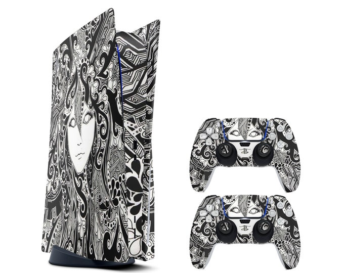 BLACK and White - Ps5 Skin - Protective Black Polygon Controller Skin - Gift For Gamer - Durable Stickers for Ps5 Console Game Sticker