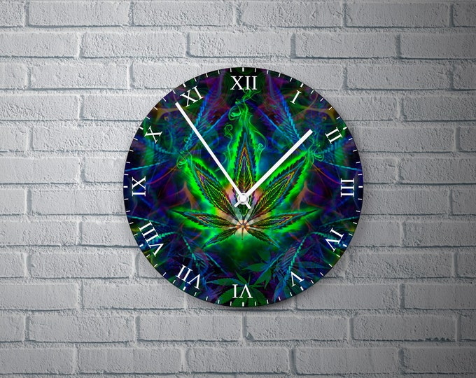 11.8'' Wall Clock Ganja Desing Vinyl Clock Decal, 3D Colorful Ganja Leaf Vinyl Record Wall Clock, Ganja Decor Clock Gift for Any Occasion