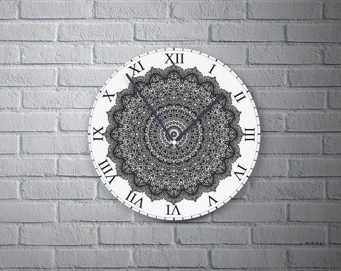 11.8'' Wall Clock MANDALA Vinyl Clock Decal, Plastic Plate Round Wall Clock, Wall Decor Custom Cute Clock