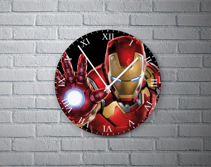 11.8'' Wall Clock IRONMAN Design Vinyl Clock Decal, Ironman Design Wall Clock, Round Vinyl Home Decor Wall Clock, Made Ironman Wall Clock
