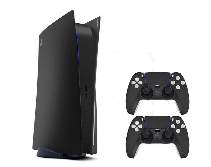 PS5 Matte Black Vinyl Decal Full Wrap for Sony PlayStation 5   Digital Standard Edition with PS5 Controllers Decal Cover Both Compatible