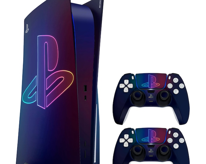 PS5 Skin PS NEON SIGNS   Vinyl Decal   Sony Playstation 5 & DualSense Protection PS5